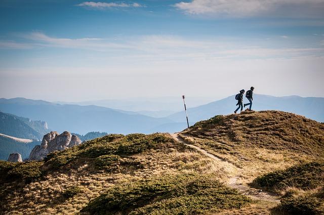 二人で登山をしにいきました